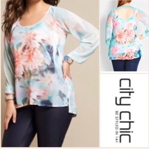 City Chic Long Sleeve with Cutout Back